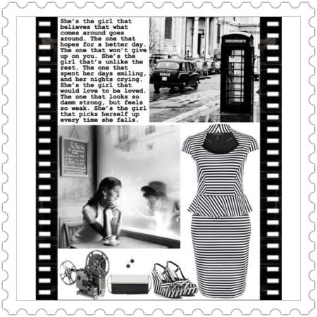 Fashion on http://ideafill.me | black, white, stripes, dress, retro