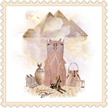Egiptian Look on http://ideafill.me in collaboration with http://apparel-p-m.polyvore.com | beige-color, desert, egypt, edu, history, shabby-chick