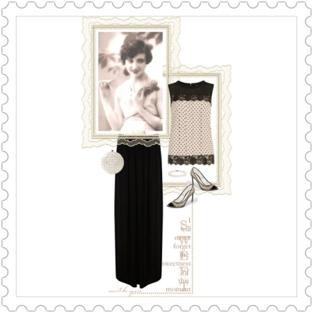 Fashion on http://ideafill.me | beige-color, black-color, column-maxi-skirt, grey-beige-color, lace, pastel, pearl-bracelet, pump-shoes, round-clutch, shell-top, vintage