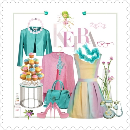 Fashion on http://ideafill.me | aquarelle, dessert, rainbow, skater-dress, water-color, pink-color, jacket, blazer, turquoise-color, platform-pumps, double-zip-leather-tote, rose-quartz-bracelet, apple-brooch, silk-scarf, floral-hair-clip, reading-glasses