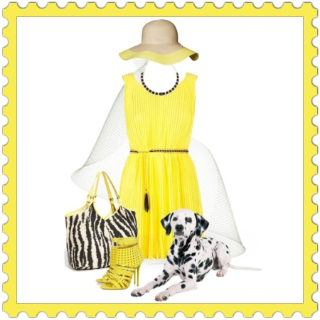 Fashion Set | collar-necklace, dalmatina, day, dog, floppy-hat, perforated-sandals, pleated-dress, time, walk, yellow-color, zebra-print