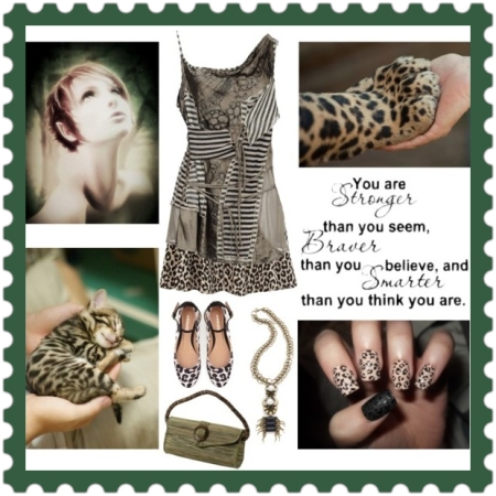 Fashion on http://ideafill.me | animal, ballet-flats, brown-color, clutch-purse, gothic-inspired, green-color, leopard-print, pendant-necklace, skater-skirt, sleeveless-top, stripes, tropic-style, woman