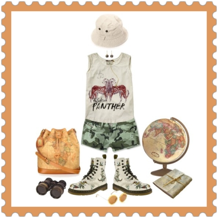 Fashion & Apparel on http://ideafill.me | combat-boots, shorts, top, round-sunglasses, bucket-bag, green-color, brick-color, tatoo, printed