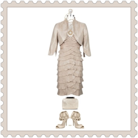 Style & Fashion on http://ideafill.me | beige-color, pleated-dress, pumps, metallic-clutch, long-pendant, classic-pearl-stud-earrings