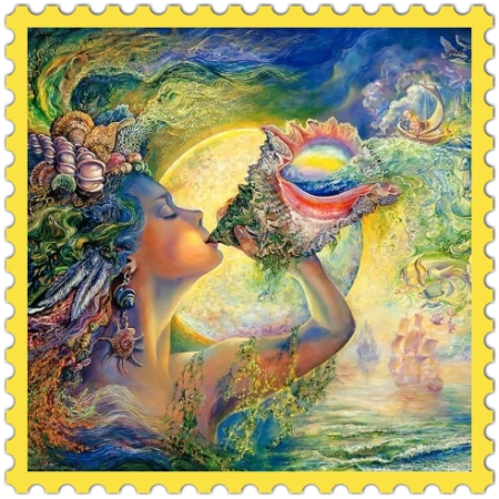 Multi-Color on on http://ideafill.me | Fantasy Art By Josephine Wall, blue, champagne, green, violet, lilac, yellow